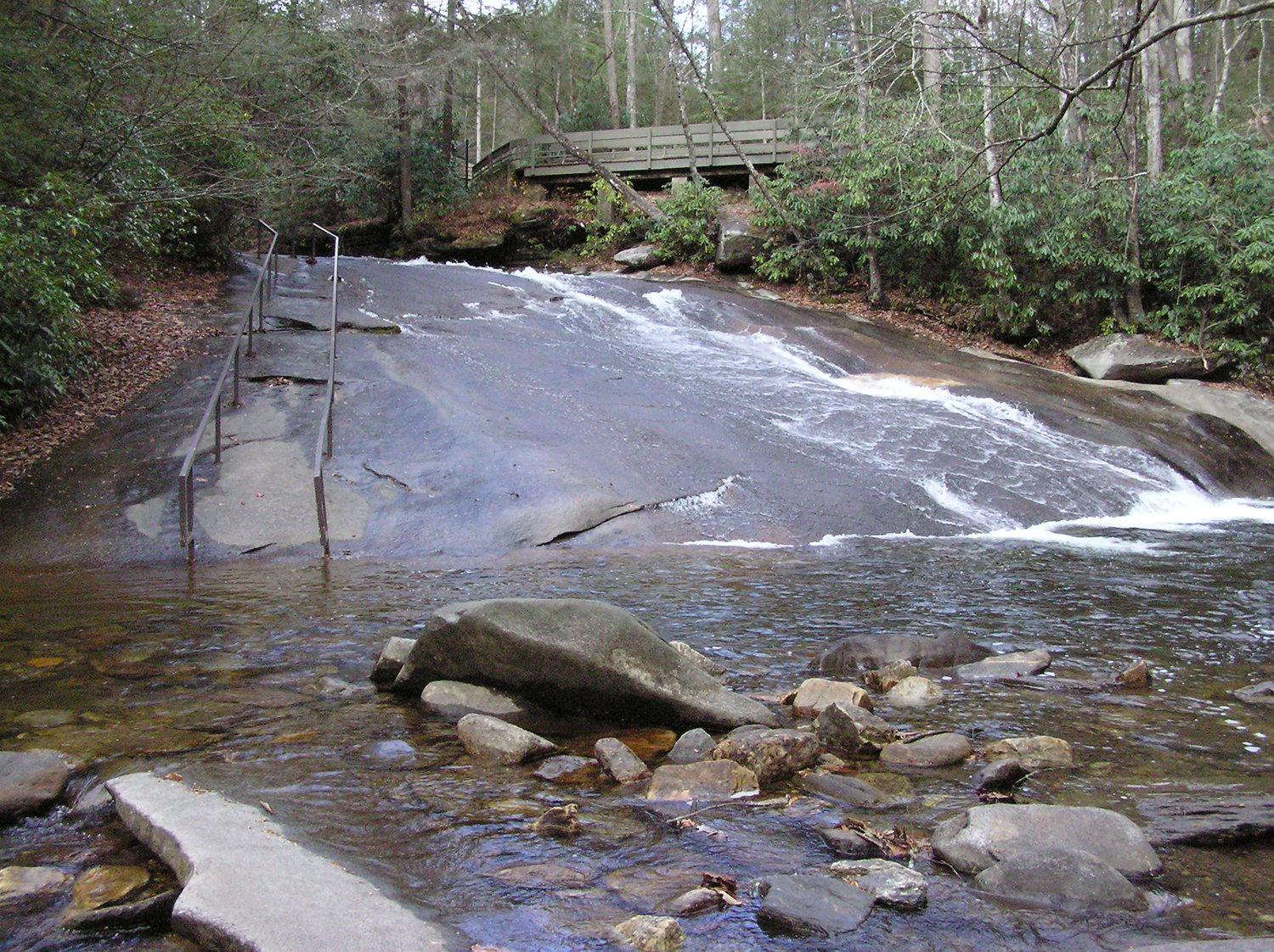 Sliding Rock at low flow - Sliding Allowed