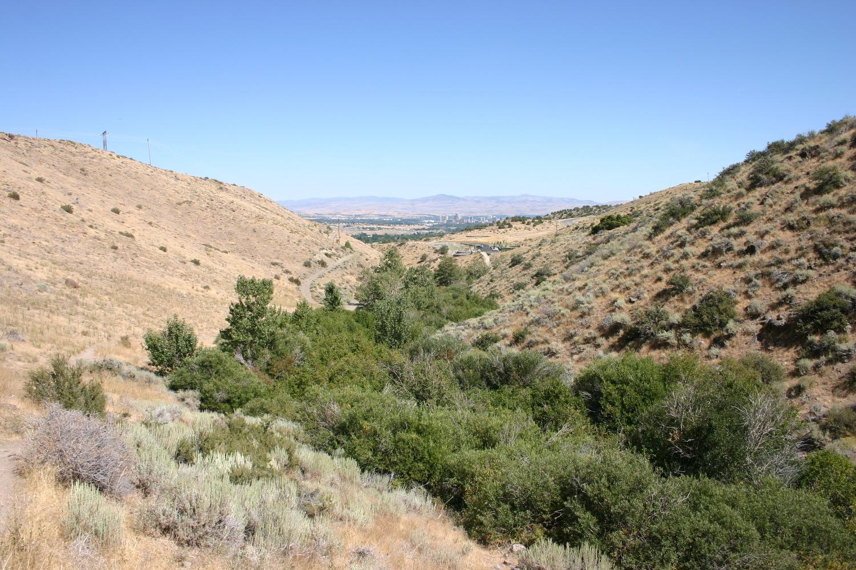 Looking back down Hunter Creek toward Reno, Nevada.