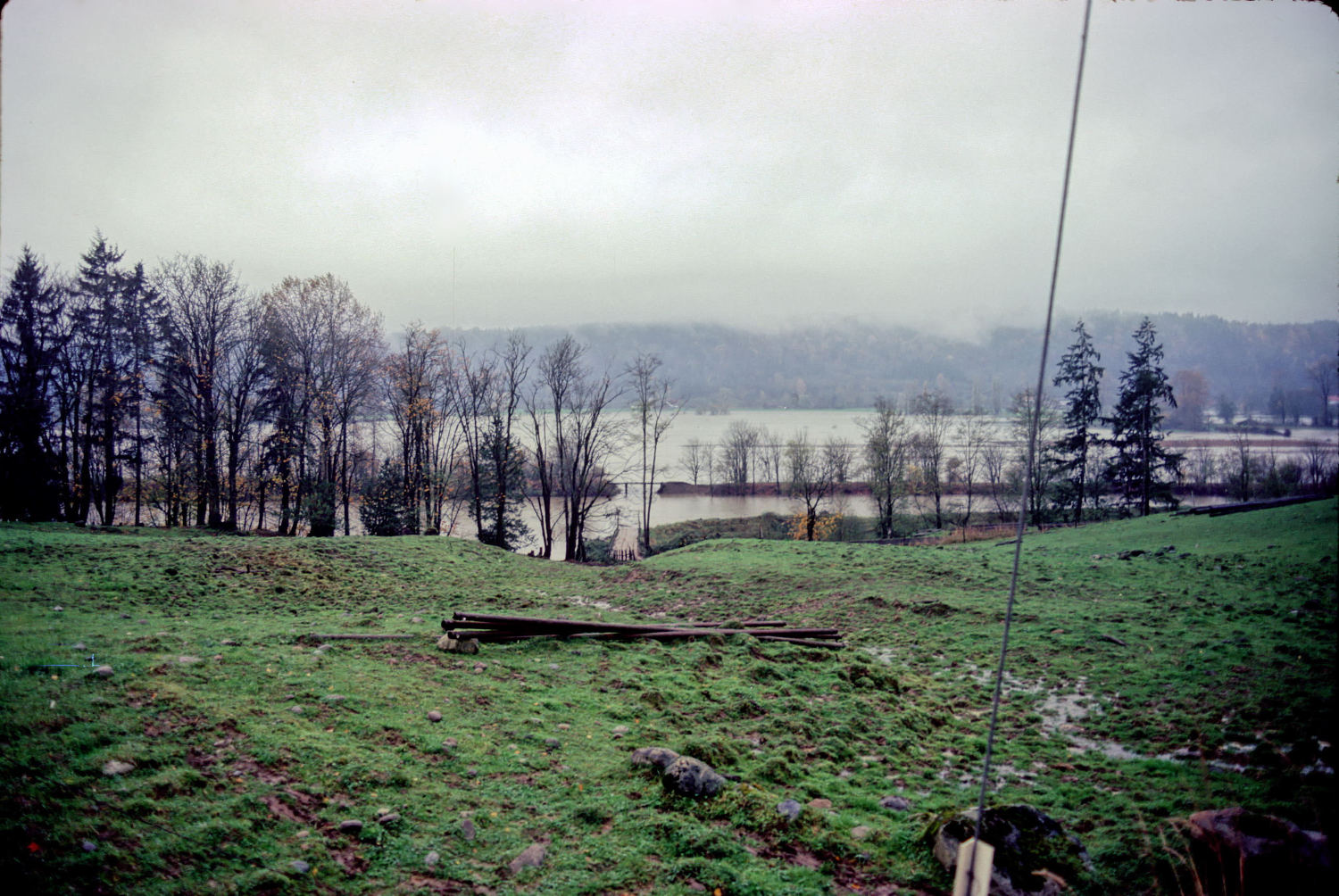 Inundated floodplain, somewhere between Duvall and Carnation, WA, Snoqualmie River, Nov 1985