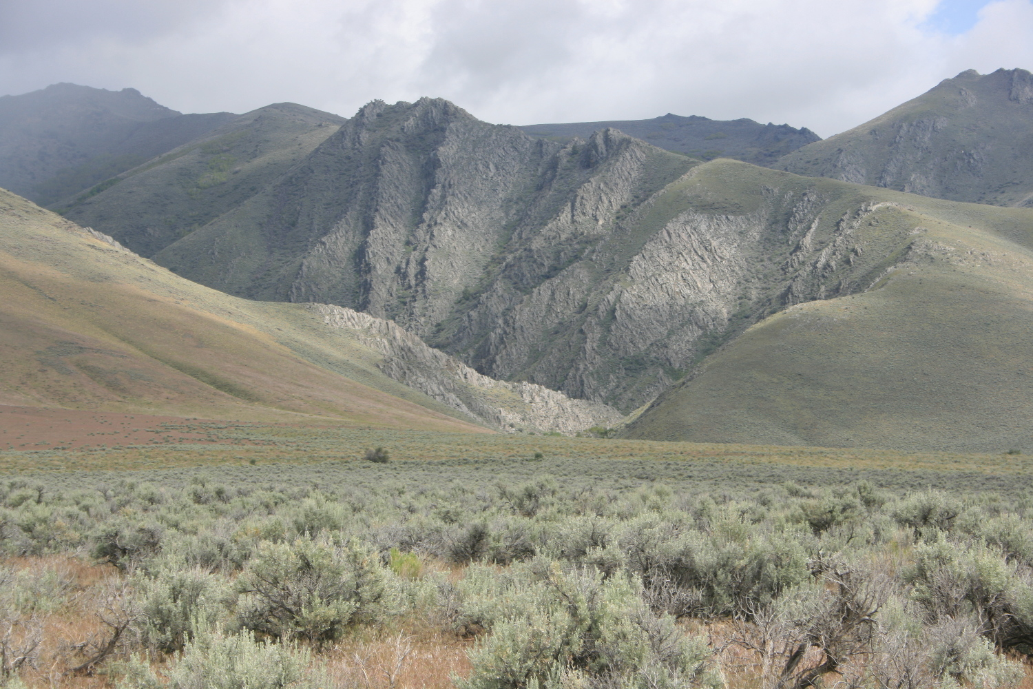 Falls Canyon, to the right (south) of Horse Canyon. Turn this way. Note the abundant phyllite outcrops.