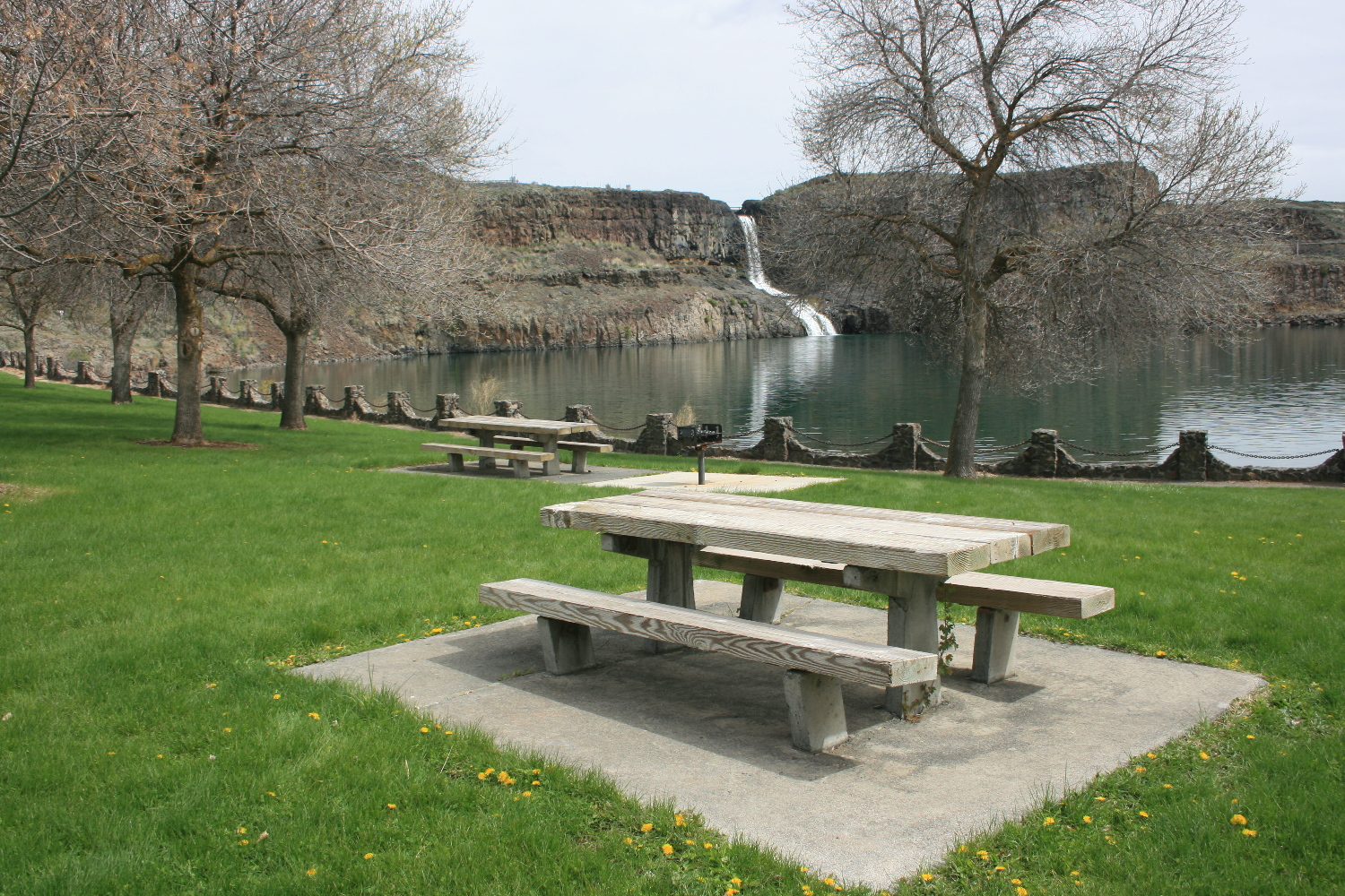 Summer Falls, with the park in the foreground.