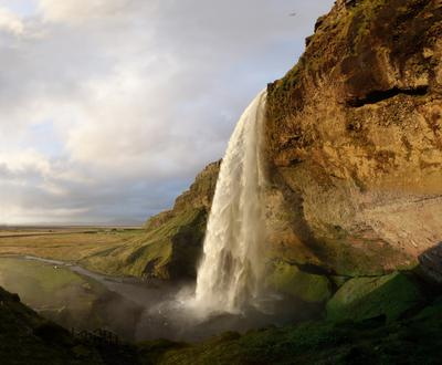 Seljalandfoss at sunset, 2012-09-06 21:35