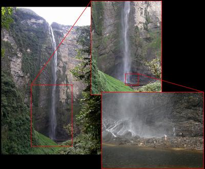 Waterfall Gocta lower part with human for size comparision