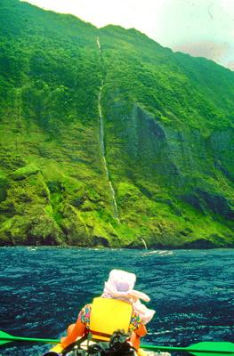 Kahiwa Falls from the sea - Hawai'i's tallest waterfall
