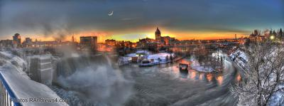 High Falls in Winter at Sunset