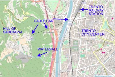 How to get to Sardagna: an annotated map