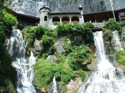 Falls emerging from St Beatus Caves