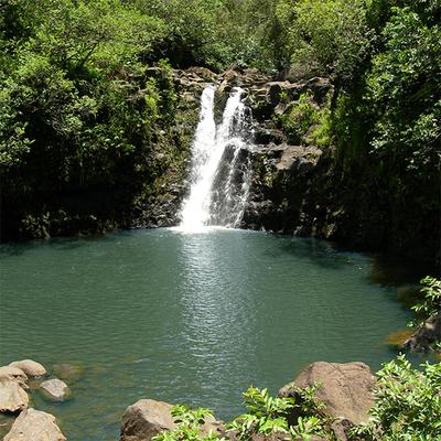 Waterfall from Rappel Maui tour